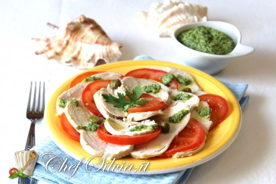 Carpaccio di pollo in salsa verde