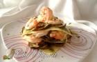 Raviolo aperto con zucchine e scampi