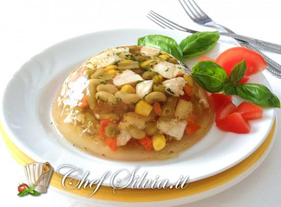 Aspic estivo  di pollo e verdure