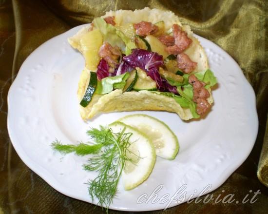 Cestini di grana padano con zucchine