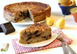 Torta di pane, pere e cioccolato
